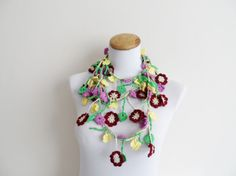 FREE SHIPPING...Colorful necklace crochet lariat by vyldanstyl, $33.00