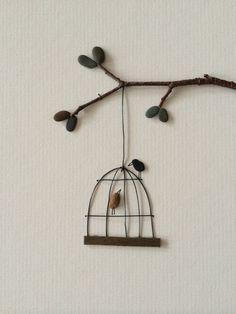 Birdcage pebble art by PebbleArt on Etsy