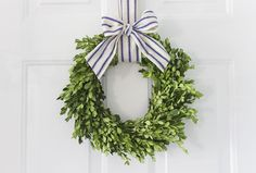Make a boxwood wreath using fresh boxwood clippings. Perfect addition to festive holiday decor that can also be used year-round with a different ribbon. Lavender Wreath, Greenery Wreath, Diy Wreath, Wreath Bows, Ribbon Wreaths, Tulle Wreath, Floral Wreaths, Burlap Wreaths, Wreaths