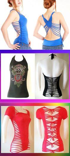 After - befor refashion biby creations Couture tutorial Diy Cut Shirts, Tie Dye Shirts, T Shirt Diy, Clothing Hacks, Cut Clothes, Sewing Clothes, Cut Workout Shirt, T Shirt Weaving, Crochet Motif