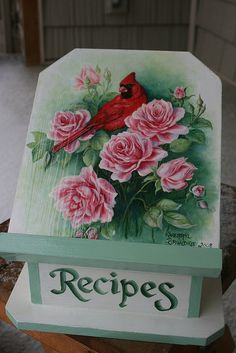 """CARDINAL IN ROSES"" Recipe box"