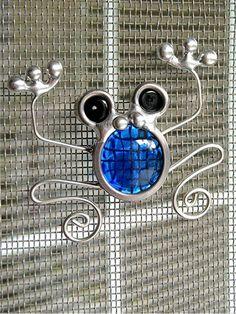 Stained Glass Screen Door Frog Suncatcher Blue by JasGlassArt