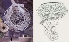 Zawieszki do okien - TitinaKrkM - Picasa Web Albums Crochet Diagram, Crochet Motif, Crochet Doilies, Thread Crochet, Crochet Stitches, Crochet Hooks, Doily Dream Catchers, Dream Catcher Boho, Doily Patterns