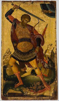 Saint Theodore quarter of the c.Byzantine and Christian Museum. Byzantine Icons, Byzantine Art, Jonah And The Whale, Christian Artwork, Archangel Raphael, Religious Icons, Catholic Saints, Orthodox Icons, Angel Art