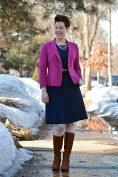 Already Pretty outfit featuring magenta blazer, navy ponte dress, leopard belt, cognac boots, multi strand silver necklace