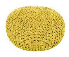 Gebreide poef Bini, geel, Ø 55 cm