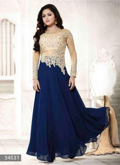 Embrace elegance just like Drashti Dhami dressed in this blue and beige color georgette net long Anarkali suit. The lace, patch, resham and stones work looks chic and ideally suited for any get together. Long Anarkali, Anarkali Dress, Anarkali Suits, Black Anarkali, Anarkali Churidar, Indian Dresses, Indian Outfits, Blue Dresses, Indian Clothes