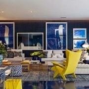 sala azul com piso de resina epóxi