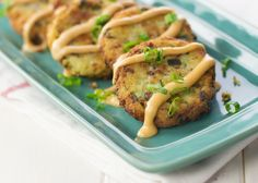 Finger food to make the fork jealous. Packed with bacon, scallions, and cheese, these Roasted Garlic potato cakes were made for dipping (in Idaho Fry Sauce)