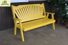 A & L Furniture Yellow Pine Fanback Garden Bench