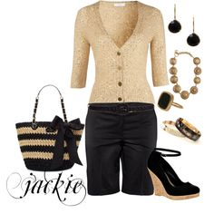 Dressing up black shorts, created by jackijons on Polyvore