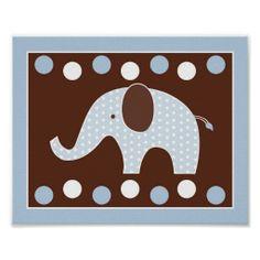 Mod Blue Elephant Nursery Wall Art Print 8X10