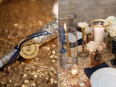 gold glitter wedding - photo by Blue Rose Photography http://ruffledblog.com/seattle-new-years-eve-wedding