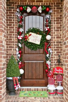 When visions of sugarplums dance in your head, you might get a little inspired to outline your front door with candy décor.  See more at Lookie What I Did »  - GoodHousekeeping.com