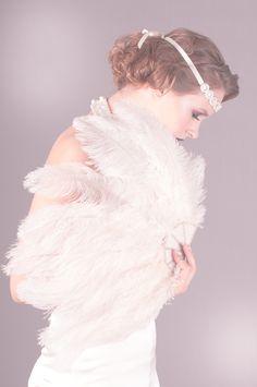 1920s Deco Ostrich Feather Fan in Ivory  http://www.brittenweddings.co.uk/shopbritten/feather-fans/201228-jessie-feather-fan/