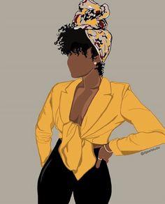 Black Love Art, Black Girl Art, Art Girl, Black Art Painting, Black Artwork, Black Cartoon, Cartoon Art, Natural Hair Art, Woman Illustration