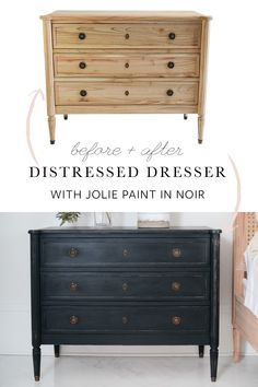 DIY dresser update Paint your dresser with Jolie Paint in Noir for a beautiful transformation. This look works well for any style, including farmhouse, traditional, rustic, and more! Diy Furniture Redo, Painting Wooden Furniture, Repurposed Furniture, Antique Furniture, Colorful Furniture, Furniture Ideas, Modern Furniture, Furniture Design, Outdoor Furniture