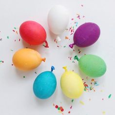 Make Easter a celebration with these super-colorful eggs, made by dying the egg and attaching a similarly-colored balloon knot to the bottom. Find the full instructions at A Joyful Riot.