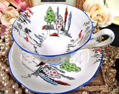 ROYAL ALBERT TEA CUP AND SAUCER CROWN CHINA PAINTED TREES PATTERN TEACUP | eBay