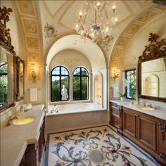 46 Luxury Mediterranean Bathroom Themes Design - Daily Home List Mediterranean Bathroom Design Ideas, Mediterranean Home Decor, Mediterranean Architecture, Dream Bathrooms, Beautiful Bathrooms, Luxurious Bathrooms, Estilo Tropical, Rich Home, New Interior Design