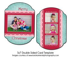 BERRY MERRY - 5x7 Double Sided Christmas Card Template. $8.00, via Etsy.