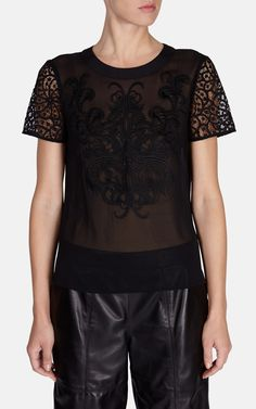 Placement embroidery top | Luxury Women's tops | Karen Millen