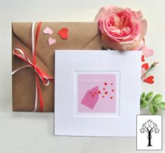 Letter Personalised Valentine's Day Card - Plate Sunk Hand Finished Luxury Board with Kraft envelope featuring exclusive artwork to HoneyTree - #CreateABuzz this Valentine's!