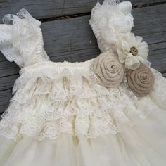 Rustic Flower Girl Dress Ivory Lace Flower by CountryCoutureCo Flower Girl Dresses Country, Rustic Flower Girls, Lace Flower Girls, Lace Flowers, Burlap Roses, Diy Tutu, Next Wedding, Wedding Ideas, Babydoll Dress