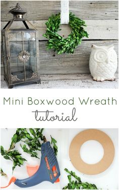 Mini Boxwood Wreath Tutorial! Oh my gosh I love this! Totally going to make these for all my kitchen cabinets!