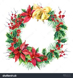 stock-photo-watercolor-christmas-wreath-with-poinsettia-plant-pine-tree-branches-holly-plant-and-bells-hand-309575549.jpg (1500×1600)