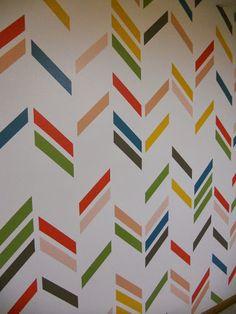 DIY  Herringbone Accent Wall .  So pretty!