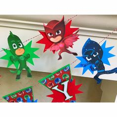 Revised Pj Mask Banner 6 Characters Colorful Pj by LittleRedBanner