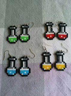 Pendientes pocimas hama beads