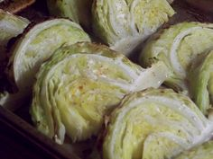 Roasted Cabbage Serves 4-6  1 large head of cabbage  1 tsp salt  1 tsp sugar  freshly ground pepper  2 tbs olive oil  Balsamic vinegar    Preheat the oven to 450 degrees.Cut the cabbage through the core into 4 quarters. Slice each quarter into 4 wedges. Lay out the wedges on a rimmed baking sheet. Brush with the olive oil. Mix the salt, sugar, and pepper together and sprinkle over the wedges. Roast until lightly browned on the edges, about 25 minutes. Drizzle with the Balsamic vinegar