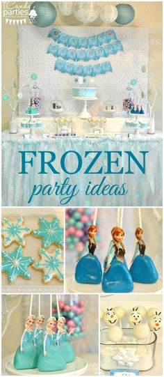 What a pretty Frozen party with Elsa and Anna cake pops! See more party planning ideas at CatchMyParty.com!