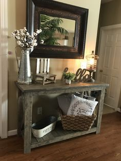 Fall Entryway Decor: Easy + Simple Ways to Welcome Fall into Your Home - 1111 Light Lane - Sofa table Silver pitcher with stems on bottom left shelf - Sofa Table Decor, Table Decorations, Hallway Table Decor, Furniture Decor, Coaster Furniture, Wall Decor, Sofa Table Styling, Country Decor, Farmhouse Decor