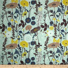 Art Gallery Cultivate Flower Field Mist from @fabricdotcom  Designed by Bonnie Christine for Art Gallery Fabrics, this high quality cotton print fabric is perfect for quilting, apparel and home decor accents. Art Gallery Fabric features 200 thread count of finely woven cotton. Colors include navy, brown, tan, citrus yellow, white and a minty blue background.