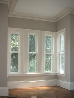 "Love the windows in the corner (Described as the best paint color ever. Benjamin Moore ""revere pewter"")"