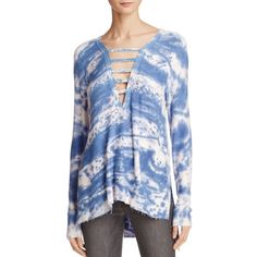 Vintage Havana Ladder Neck Tunic Top (240 BRL) ❤ liked on Polyvore featuring tops, tunics, tie die tops, tie-dye tops, tie dye tunic, vintage havana and tye dye tops