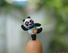 0.7 inch crochet  dollhouse miniature panda bear - Micro amigurumi animal Kung fu Panda
