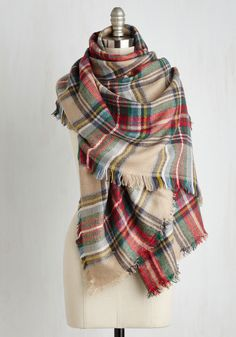 Willamette for the Weekend Scarf. An Oregon adventure calls for this plaid scarf to complete your getaway get-up! #tan #modcloth