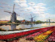 Moulins, tulipes et canal à Kinderdijk, huile sur toile, Alain Ragaru