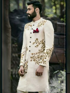 Regal Look Off White Sherwani Sherwani For Men Wedding, Wedding Dresses Men Indian, Groom Wedding Dress, Sherwani Groom, Wedding Attire, Indian Dresses, Indian Outfits, Bride Groom, Sikh Wedding