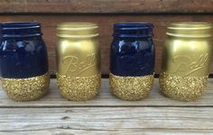 Set of 4 Glitter Mason Jars - Use for Makeup Brushes, Pens, Wedding Centerpieces, Baby Shower, Bridal Shower, Navy Blue and Gold Jars, Vases