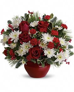 Holiday bouquets and christmas flowers for christmas flower delivery today Christmas Flower Arrangements, Christmas Flowers, Beautiful Flower Arrangements, Christmas Centerpieces, Flower Centerpieces, Floral Arrangements, Christmas Decorations, Christmas Flower Delivery, Fruit Flower Basket