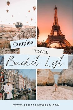 A bucket list for couples! Travel the world in love. #Love #Travel #Couples Romantic Getaways, Romantic Travel, Travel Couple, Family Travel, Eiffel Tower At Night, See World, Gili Island, Adventure Bucket List, Pyramids Of Giza