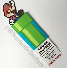 Get all you guests excited for your Super Mario birthday party with these double sliding invitations! The invitation features a pull out tab