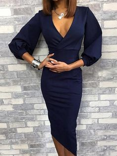 Fashion Homecoming Dress,Sexy Party Dress, New Style Evening Dress by RosyProm, $142.49 USD Midi Dress With Sleeves, Long Sleeve Midi Dress, Party Dresses For Women, Sexy Dresses, Fashion Dresses, Formal Dresses, Work Dresses, Classy Dress, Dress Casual