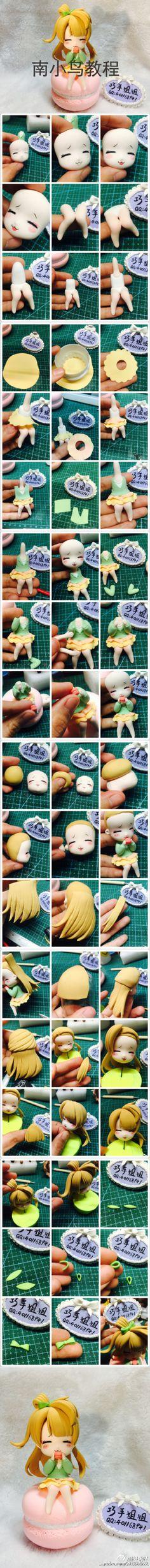 Polymer clay chibi nendoroid tutorial kawaii girl macaron