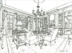 Study drawing for a library in a private residence, Dallas, TX, 2005